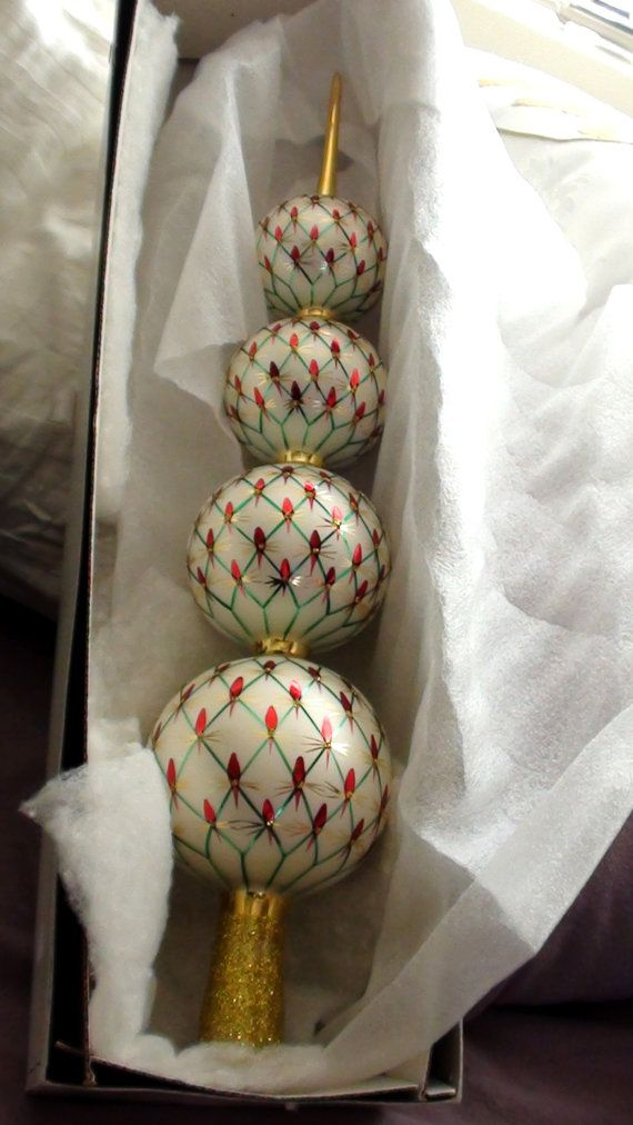 Old Fashioned Glass Christmas Ornaments Part - 33: This Bright And Elegant Glass Tree Topper Is 19 High And Will Add An Old-