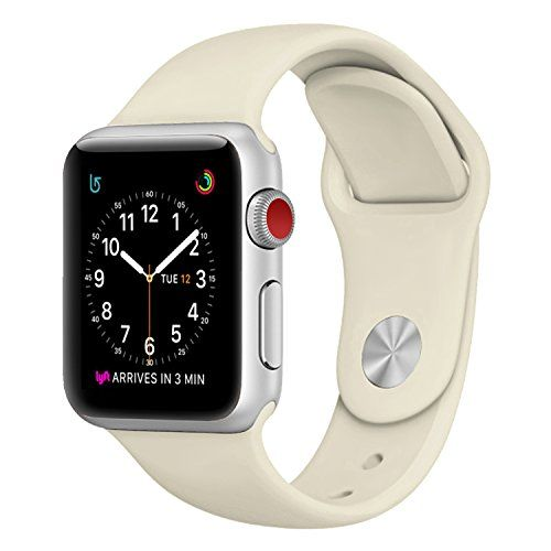 SICCIDEN Apple Watch Band 38mm [ S/M/L Size 3 Pieces 2 Length] Soft Silicone Sport Replacement Strap for Apple Watch Series 3 Series 2 Series 1 Sport and Edition Antique White