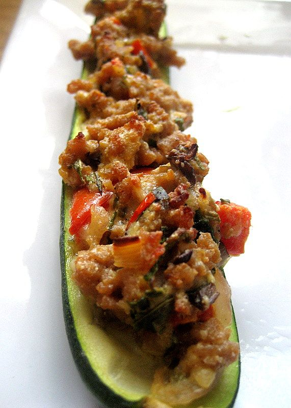 Stuffed Zucchini with Ground Turkey: so Yummy! I cut the salt and pepper in half. Also, substituted red bell pepper for tomatoes bc I hate tomatoes- probably good either way.