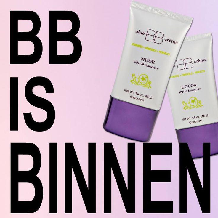 BB-cream is Binnen   Terug van weggeweest en in een nieuw jasje: aloe BB crème! De perfecte combinatie van huidverzorging en make-up. Hydrateert, camoufleert onzuiverheden en biedt bescherming tegen de zon. Voor een zachte, matte maar stralende teint die de huid er natuurlijk en gezond uit laat zien. Nu in twee kleuren verkrijgbaar: Nude voor de lichte huid met SPF 20 en Cocoa voor de donkere huid met SPF 10.