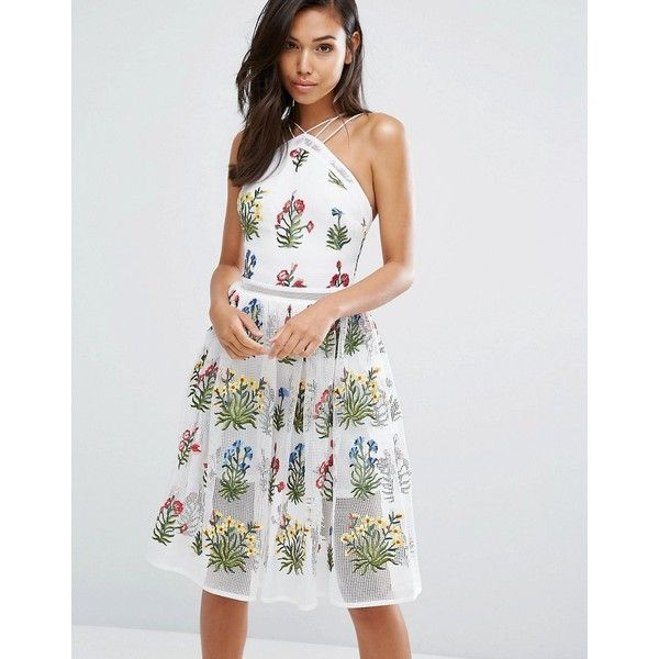 Rare London Mesh Midi Dress In Embroidery ($108) ❤ liked on Polyvore featuring dresses, cream, sequin cocktail dresses, white midi dress, pleated mini skirt, white cocktail dress and white halter dress
