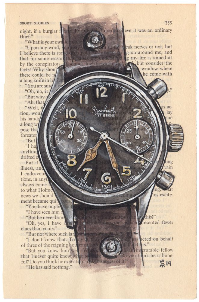 Hanhart Military Watch Painting  sunflowerman.com  #WatchesProject