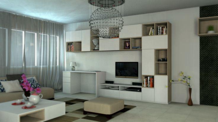 Obývačka kombinovaná s pracovňou