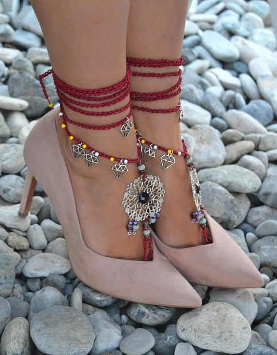 ON SALE 25%off red barefoot sandals boho barefoot sandals
