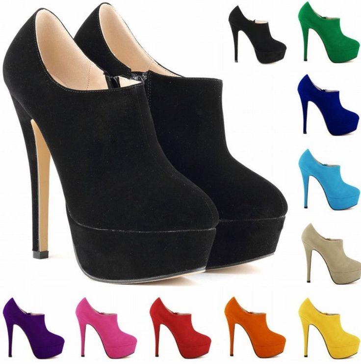 New Women's Super High Slim Heel Shoes Zip Elegant Candy Colors Pumps Shoes #Unbranded #PumpsClassics #Party