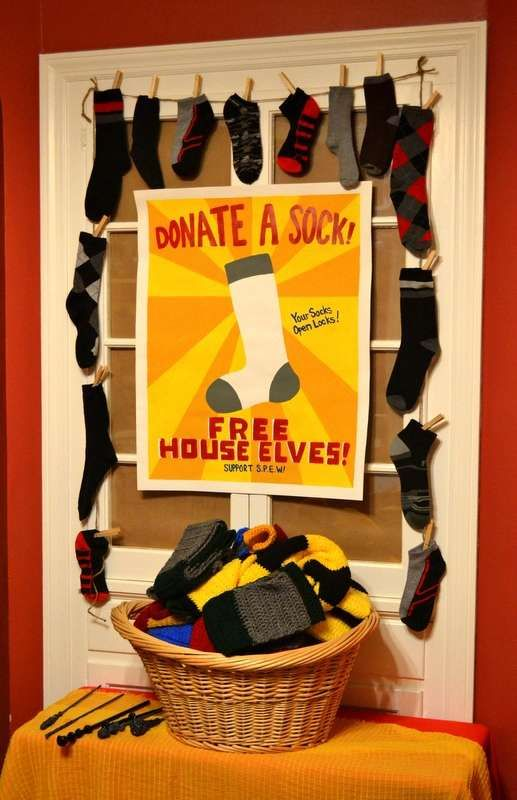 Donate a sock at a Harry Potter birthday party! See more party ideas at CatchMyParty.com! This would be great for my daughter's party, then the socks could be donated to some place needing them for Christmas after her party.