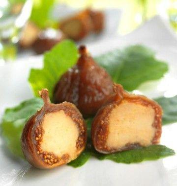 Photo de la recette : Figues séchées fourrées au foie gras Lucien Doriath. Figs stuffed with foie gras