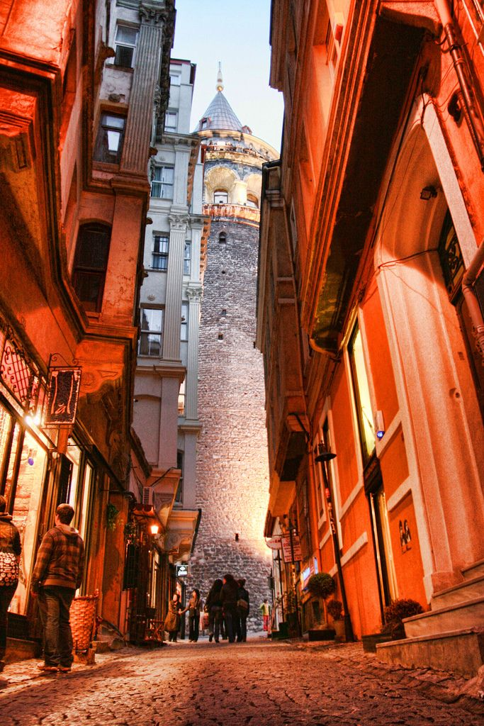 The Galata Tower (Galata Kulesi in Turkish, Christea Turris (the Tower of Christ in Latin) by the Genoese), a medieval stone tower in the Galata (Karaköy) quarter of Istanbul, Turkey, just to the north of the Golden Horn's junction with the Bosphorus. [https://en.wikipedia.org/wiki/Galata_Tower]