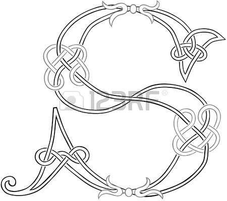 A Celtic Knot-work Capital Letter S Stylized Outline Illustration