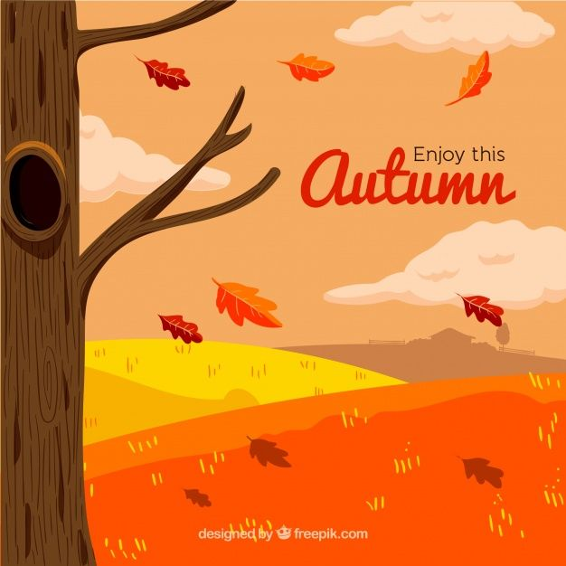 Free vector Hand drawn background with autumnal landscape #22573