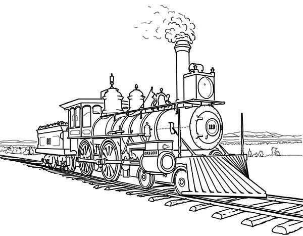 Railroad, : Amazing Steam Train on Railroad Coloring Page- INDUSTRIAL REVOLUTION
