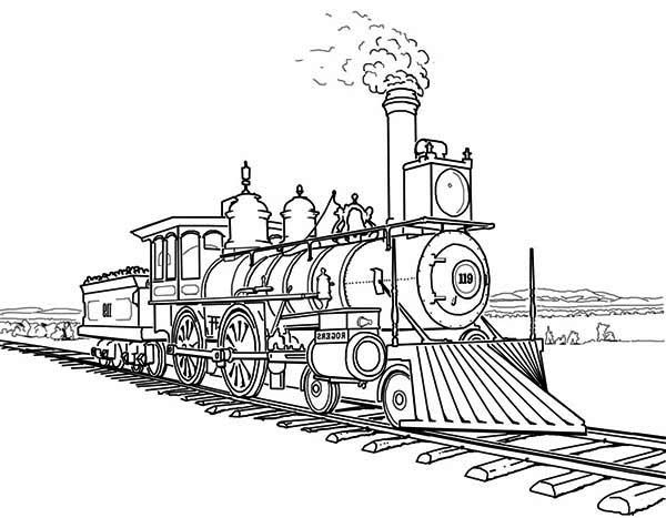 Railroad, : Amazing Steam Train On Railroad Coloring Page
