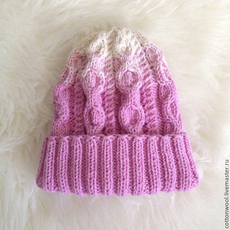 Купить Шерстяная шапочка розово-сиреневого цвета с подворотом - розовый, однотонный, шапка, шапка вязаная