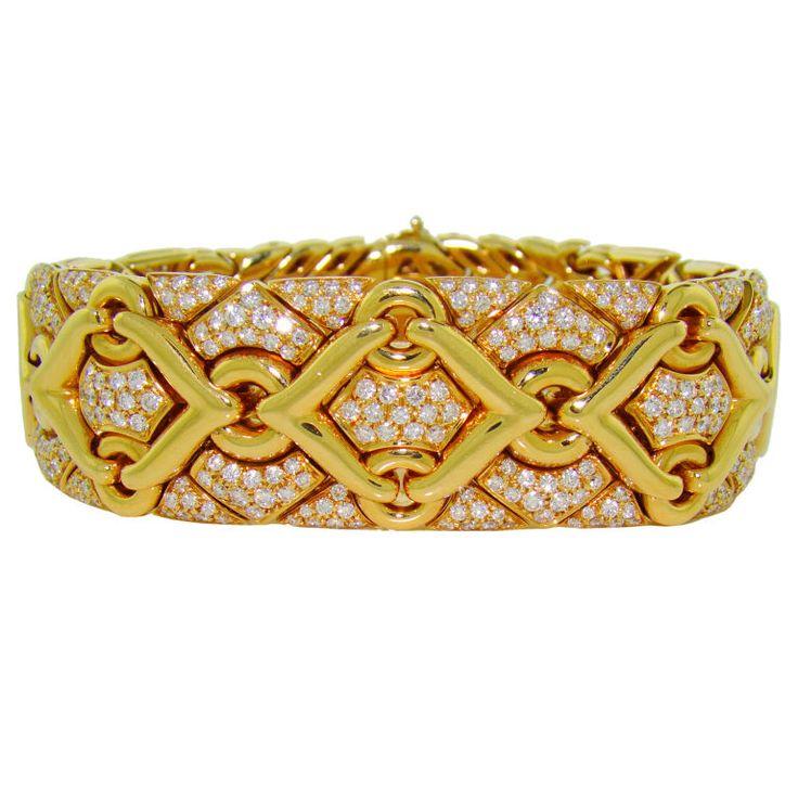 Bvlgari 18K Yellow Gold & Diamond Bracelet