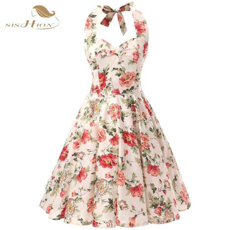 SISHION 100% Cotton Halter Rockabilly Summer 50s 60s Retro Vintage Dresses Floral Print Swing Housewife Elegant Dress VD0077 #Affiliate