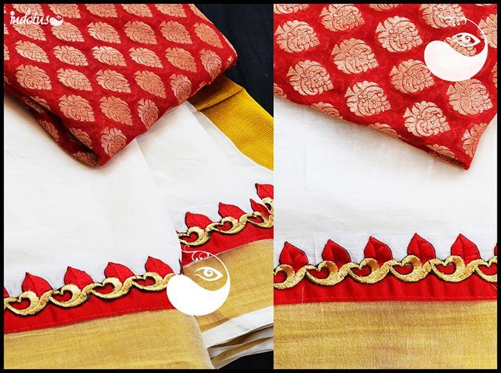 Kerala Saree with bright beautiful cutwork borders paired with red brocade(semi banaras) for blouse. For order pls mail to indotus.couture@gmail.com
