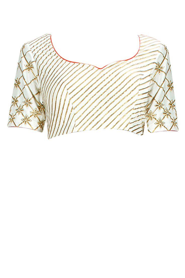 Ivory dabka and gota embroidered blouse. By Nzuri. Shop now at: www.perniaspopups... #perniaspopupshop #designer #stunning #fashion #style #beautiful #happyshopping #love #updates