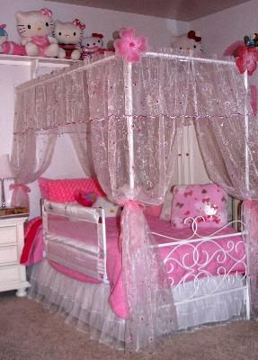 Canopy Wrought Iron Princess Bed Multiple Colors Queen