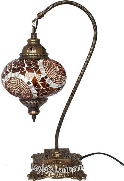 17 CM ORANGE CIRCLE MOSAIC TURKISH SWAN NECK TABLE TOP LAMP $80 + SHIPPING WWW.LEYLASLANTERNS.COM