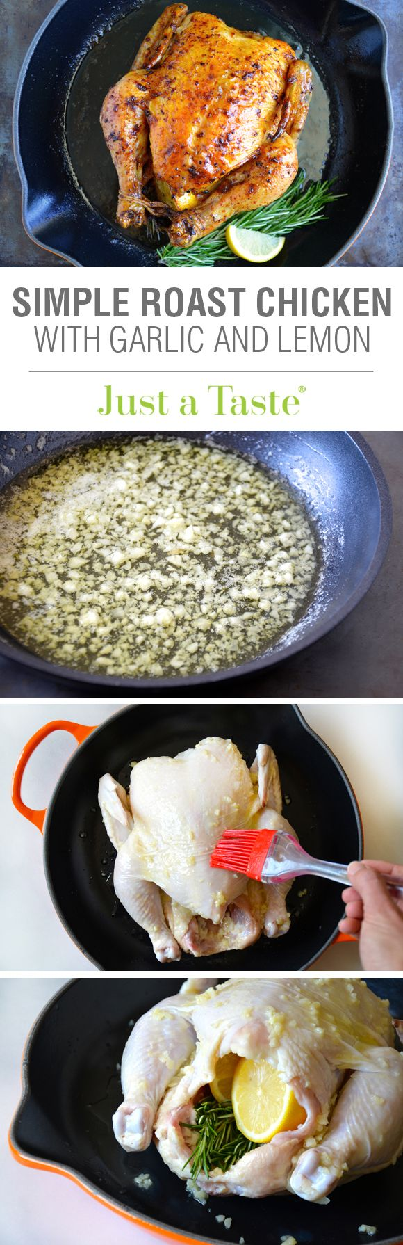 Simple Roast Chicken with Garlic and Lemon #recipe from justataste.com #Thanksgiving