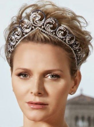 """Princess Charlene of Monaco: the Ocean Tiara, created for her and given to her by Prince Albert II on the occasion of their marriage in 2011.  This tiara is convertible, and can be worn as a necklace.  It suits """"waterbaby"""" Charlene perfectly with its oceanic theme."""