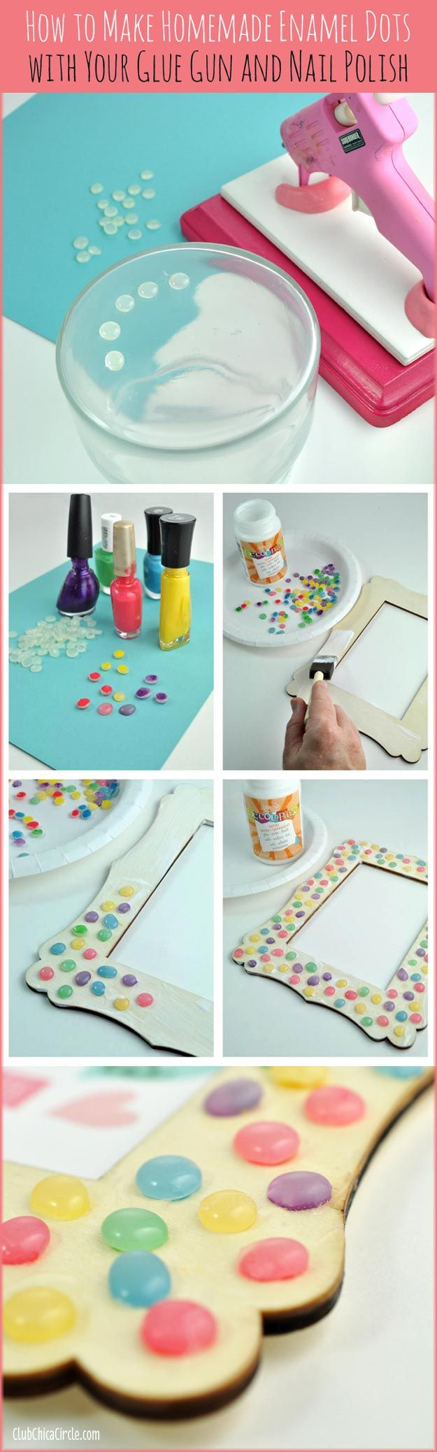 Fun Crafts To Do With A Hot Glue Gun | Best Hot Glue Gun Crafts, DIY Projects and Arts and Crafts Ideas Using Glue Gun Sticks | Home Made Enamel Dots With Your Glue Gun and Nail Polish | http://diyjoy.com/hot-glue-gun-crafts-ideas