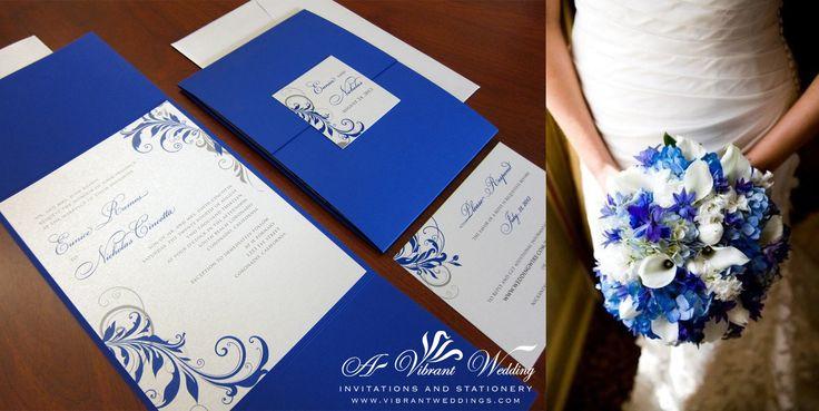 "Blue and Silver Wedding Invitation with Leaf scroll design - 5x7"" Gate-Fold Style"