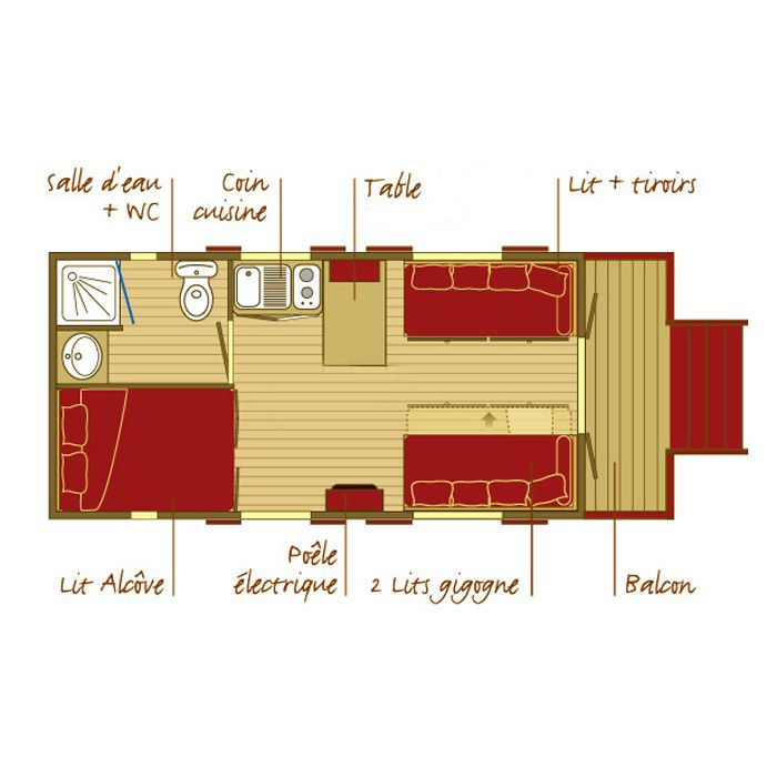 Roulotte floorplan Has everything! I'd want the partitions around the bed and WC to be easily removable to facilitate cleaning and bed changing.
