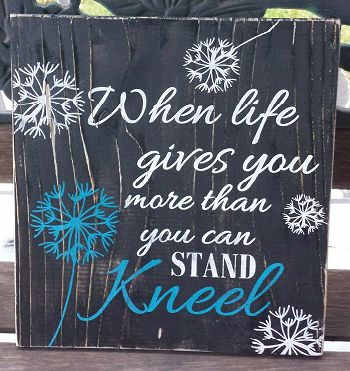 "This rustic 12"" x 12"" wooden sign has a wonderfully inspirational message.  Distressed black background with white and turquoise lettering. Custom orders are we"