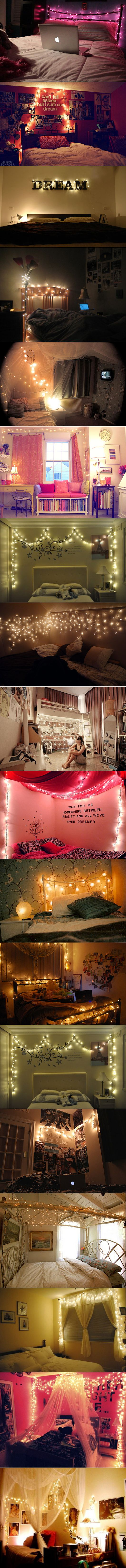 Apparently all perfect teen rooms have christmas lights and inspiring quotes