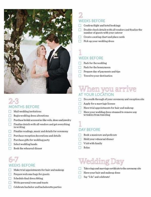 Destination wedding planning list