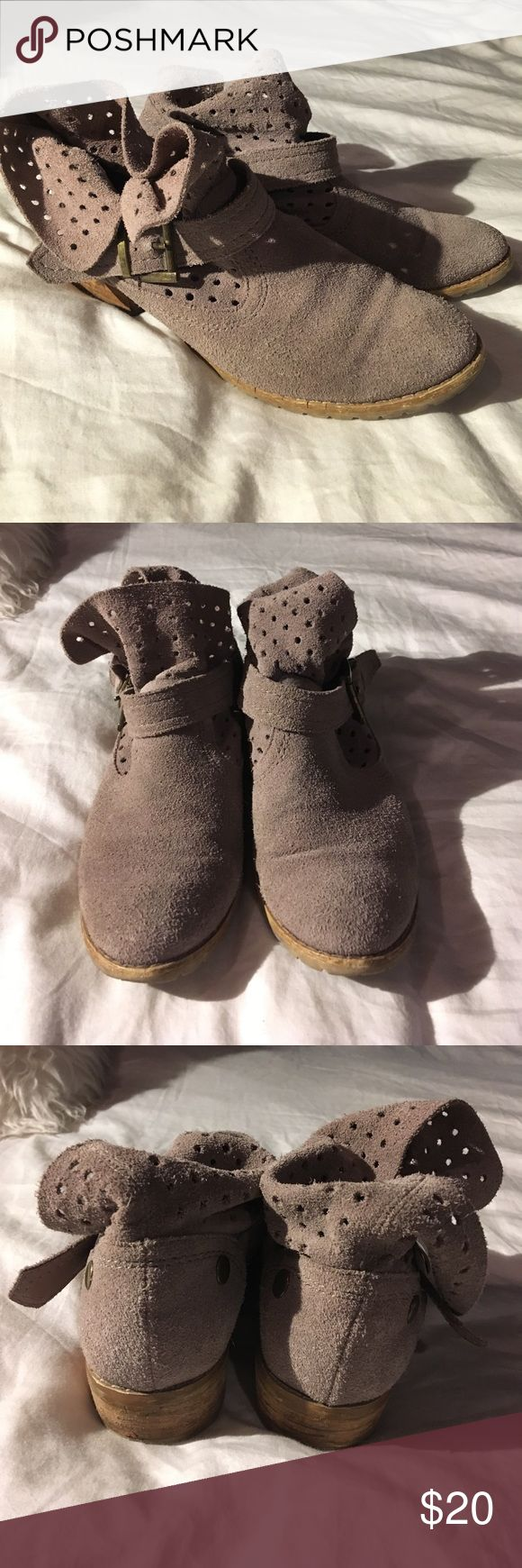 Restricted suede perforated ankle booties Restricted suede perforated ankle booties. Taupish Grey color. See photos to show wear, floppy style. Size 6 Restricted Shoes Ankle Boots & Booties