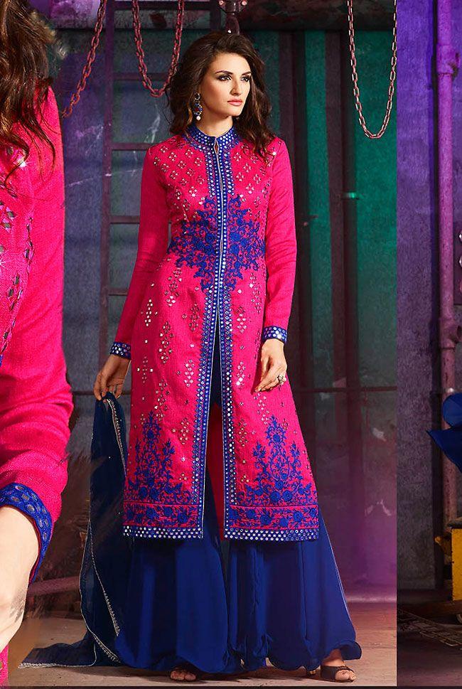 Delightful Deep Pink #Palazzo Suit @ http://www.indiandesignershop.com/product/delightful-deep-pink-palazzo-suit/