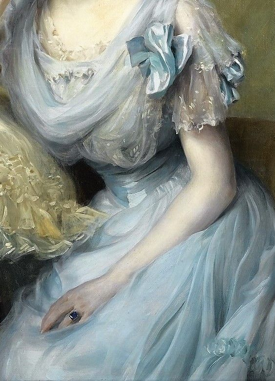 """Paul-Emile Chabas (1869-1937), """"Portrait of a Young Woman in a Blue Dress [Detail]."""""""