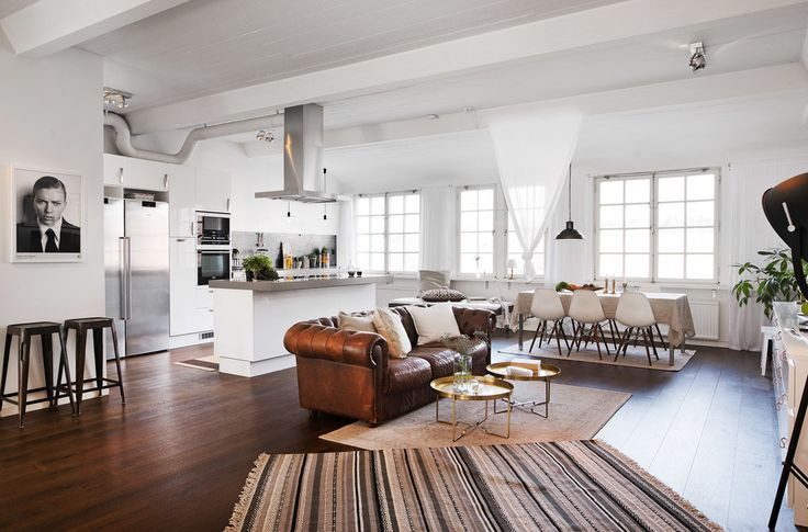Old Chocolate Factory Open plan space with dark wood floors, white walls and chrome kitchen. Brown leather sofa.