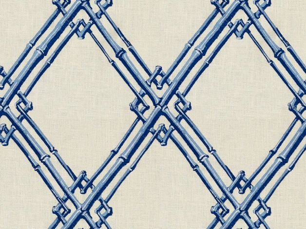 Brunschwig and Fils -- Embroidery - Bamboo Trellis Blue