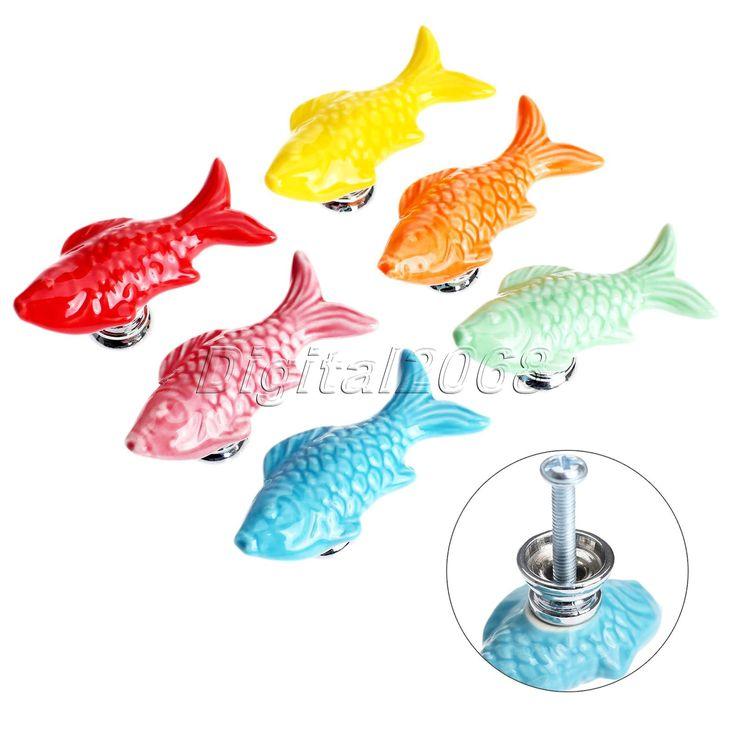 New Retro Fish Furniture Pull Handle Door Handles Wardrobe Cupboard Closet Drawer Handle Pull Ceramic Kitchen Cabinet Knob