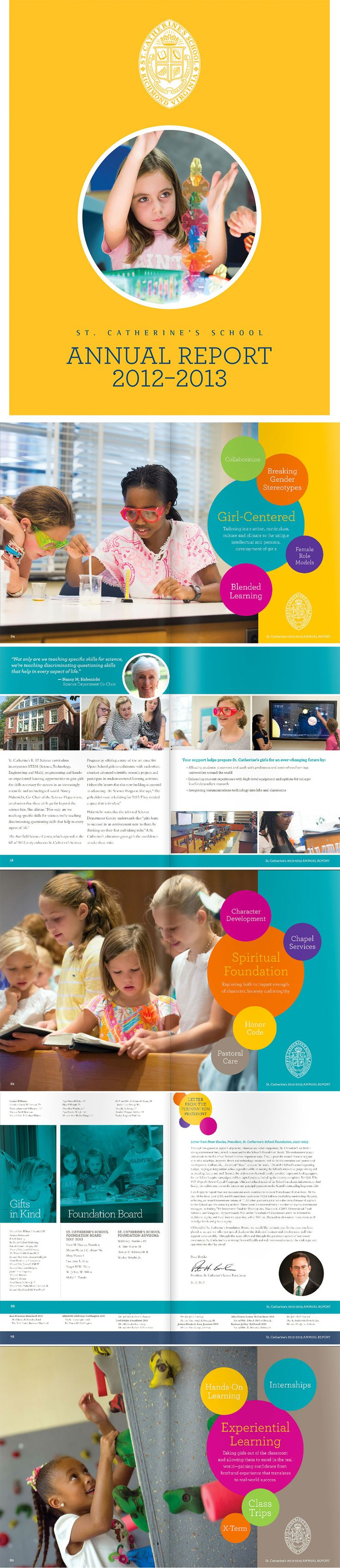 Annual Report design for an all-girl school.