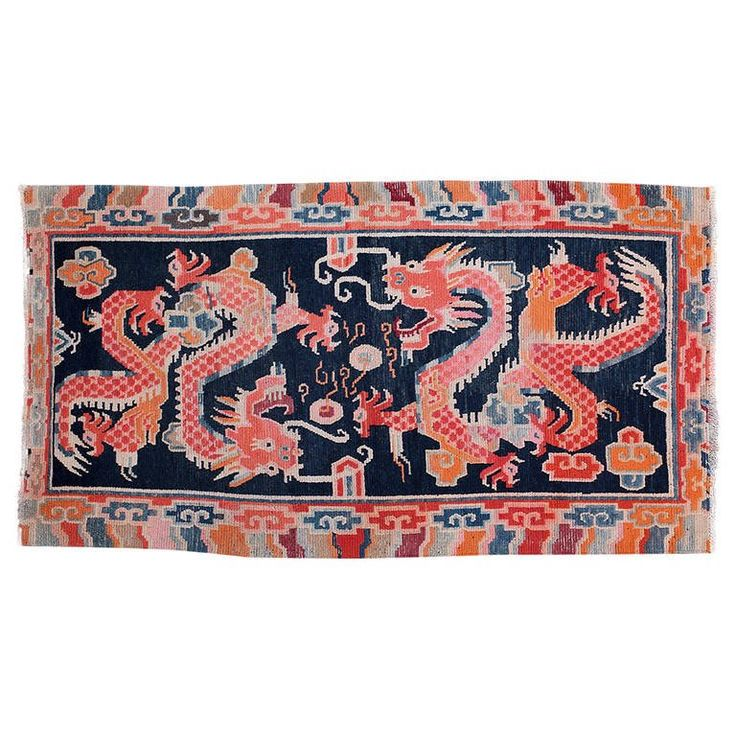 Antique Tibetan Double Dragon Rug Khaden Mat for Collectors | From a unique collection of antique and modern chinese and east asian rugs at https://www.1stdibs.com/furniture/rugs-carpets/chinese-rugs/