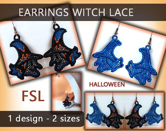Witch earrings lace - FSL - 4x4hoop - Machine embroidery digitization./INSTANT…