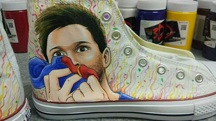 Messi Shoes Messi Painted Converse Shoes for World Cup Messi Fan