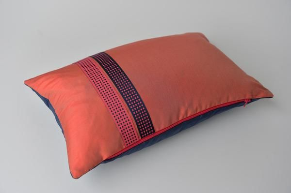indian antique french cushions. France, Mid Century. Rouge Coral Front And Wilhelm Blue Back Indian Silk Douppion Cushion Decorated With A Vintage French Satinised Double Sided Ribbon. Antique Cushions N