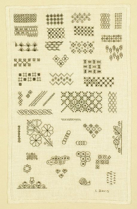 00103 Blackwork Sampler  C. Davis, American, circa 1960  Forty patterns and design motifs in a blackwork sampler on evenweave fabric; hemstitched edge; stitched by a student of Edith John, a well known English embroidery teacher and author.  11.125 x 6.875 in (28.3 x 17.5 cm)