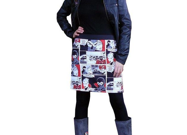 Faldas por la rodilla - Falda :: cómic roja :: - hecho a mano por nosgustanlosretros en DaWanda