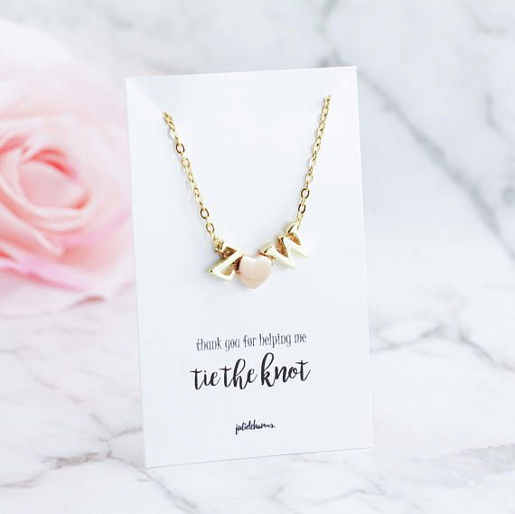 Gold Personalised Letter Initial Necklace Bridesmaid Gift