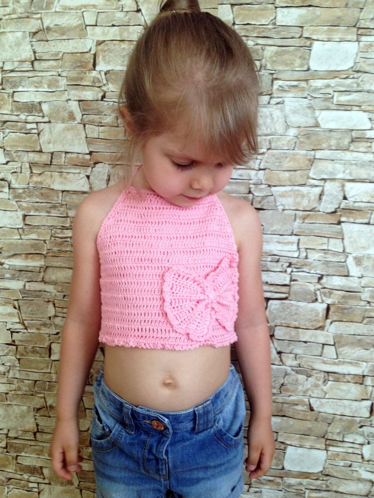 Bow crochet pink toddler top/ Baby toddler top/ Crochet bikini/ Musik festival crochet top for toddler girl/ 2T 3T 4T 5T crochet top gift by ElenaVorobey on Etsy