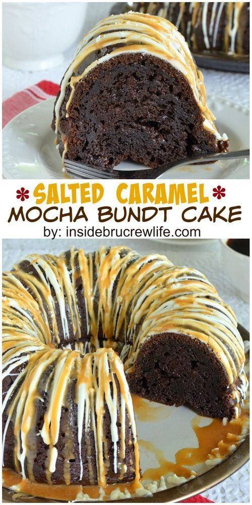 Chocolate mocha cake topped with white chocolate and salted caramel topping