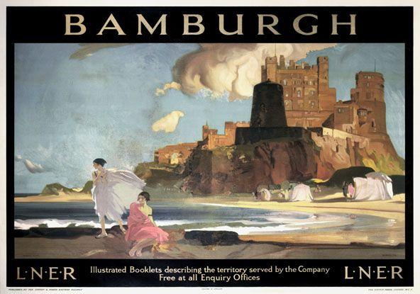 Bamburgh Castle, Northumberland. LNER Vintage Railway Travel poster by William…