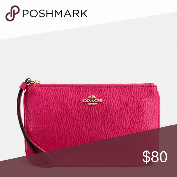 😍SOLD FACEBOOK 😍BNWT Coach  Fuchsia cross grain Gorgeous for spring and summer!!! Huge discount!!! Coach Bags Clutches & Wristlets
