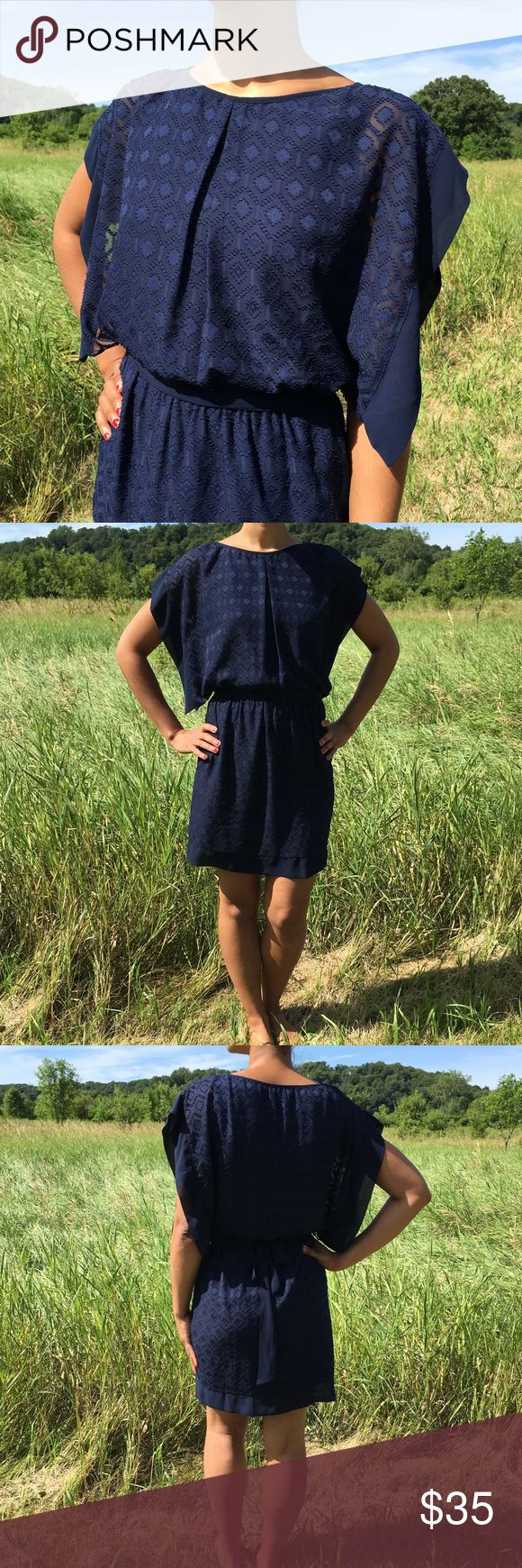 "HP Navy Batwing Dress with Sash New with tags! Navy blue batwing dress with sash belt (elastic waistband). Junior's size medium, modeled on women's 4/6. Approximately 35"" long. Fully lined. 100% polyester lining and shell. ""Fresh Fashion Finds"" Host Pick on 7/15/17  A. Byer Dresses Mini"